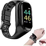 Bluetoothイヤホン付き最新のスマートウォッチ心拍数モニタースマートリストバンド長時間スタンバイスポーツウォッチ健康2In1スマートウォッチ男女用