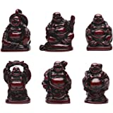 1'' Red Resin Laughing Buddha Figurines Good Gift and Collection Set of 6