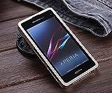 【Fitwhiny】Xperia A2 SO-04F/Xperia J1 Compact アルミバンパー【全10色】イヤホンジャックキャップ付き メタルバンパー ケース カバーアルミ バンパー フラットデザイン スライド式 SO04F (ゴールドメタリック)(167-10)