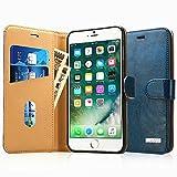 Labato iPhone7ケース 手帳型 本革レザー アイフォン7カバー TPU 財布型 スタンド機能 カードポケット 手作り ハンドメイド 耐摩擦 耐汚れ 全面保護 フリップ 人気 (ブルー lbt-IP7-01Z46)