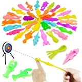 MIMIDOU 30 Pcs Finger Slingshot Animal Toy, Funny Stretchable Flick Rubber Animals, a Variety Simulation Animals Great for Va
