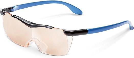 エレコム 拡大鏡 メガネ型ルーペ 1.6倍 UV/ブルーライトカット ブラウンレンズ ネックストラップ付 ブルー L-BUB16-L01BU