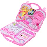 NUOBESTY 14pcs Kids Doctor Kit with Doctor Equipment Suitcase Pretend Play Set Doctor Toy Medical Play Toys for Kids Children