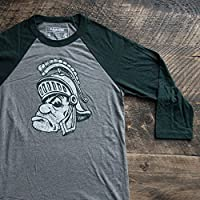 Michigan State University Spartans MSU Gruff Spartyラグラン3/ 4スリーブベースボールシャツ