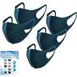 [Amazon限定ブランド]マスク 5枚セット 洗えるマスク 3Dマスク 個包装 通気性 かぜ用 花粉 紫外線対策 子供用 小さめ 男女兼用 ポリウレタン素材10色選べる FENQ ネイビー