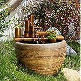 Japanese Style Wabi Sabi Zen Garden Goldfish & Lotus Bowl Fountain,Hand Made Bamboo Water Feature, Indoor/Outdoor, Smooth Spl