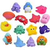 Lictin Baby Bath Toys-15PCS Bath Toys Baby Toys Floating Swimming Toys BPA Free Bath Squirters Toys Colorful Ocean Animals Fl