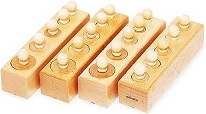 【MONTE Kids】モンテッソーリ教具 -- シリンダー円柱さし 家庭用 -- Montessori 知育玩具教具 幼児早期教育 モンテキッズ 本格教材 算数 おもちゃ モンテッソーリ教具 -- シリンダー 円柱さし 家庭用 --