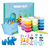 Modeling Clay Kit - 24 Colors Air Dry Ultra Light Magic Clay, Soft & Stretchy DIY Molding Clay with Tools, Animal Accessories