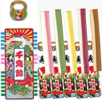 京の 千歳飴 5本入 (千歳あめ いちごみるく味、抹茶みるく味、レモン味、グレープ味、青リンゴキャロット味、各1本) 手提げ袋入り