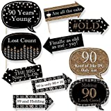 Funny Adult 90th Birthday - Gold - Birthday Party Photo Booth Props Kit - 10 Piece [並行輸入品]