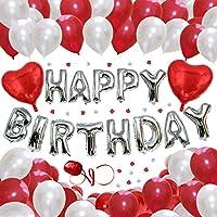 GRESATEK ハッピーバースデー バルーン 誕生日 バルーン HAPPY BIRTHDAY 風船100個 ポンプ 両面テープ リボン 花びら 付き (ハートセット)