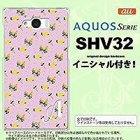 SHV32 スマホケース AQUOS SERIE カバー アクオス セリエ イニシャル 花柄・バラ(F) ピンク nk-shv32-252ini S