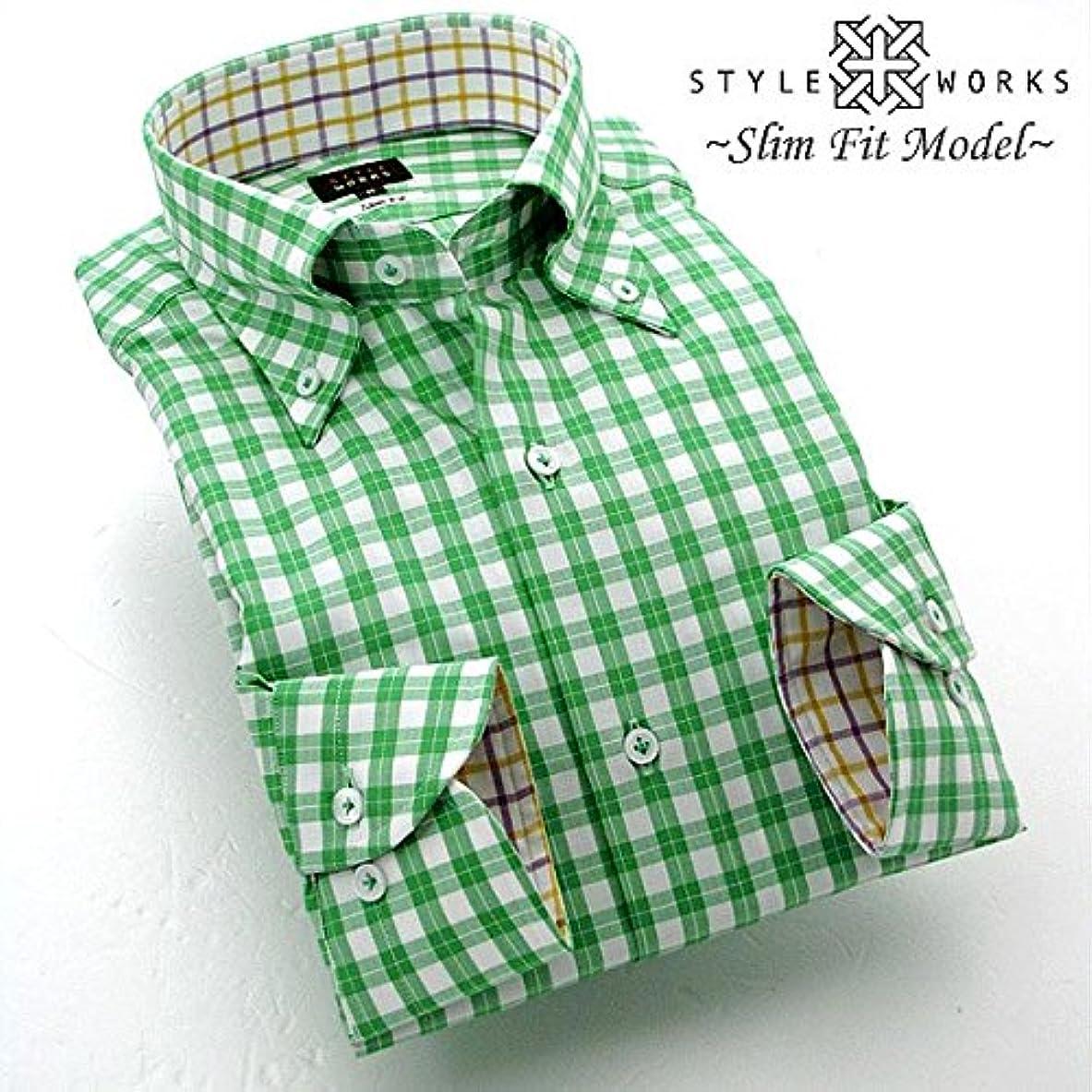 持ってるハグ危機(スタイルワークス) メンズ長袖ワイシャツ  チェック | グリーンウッド