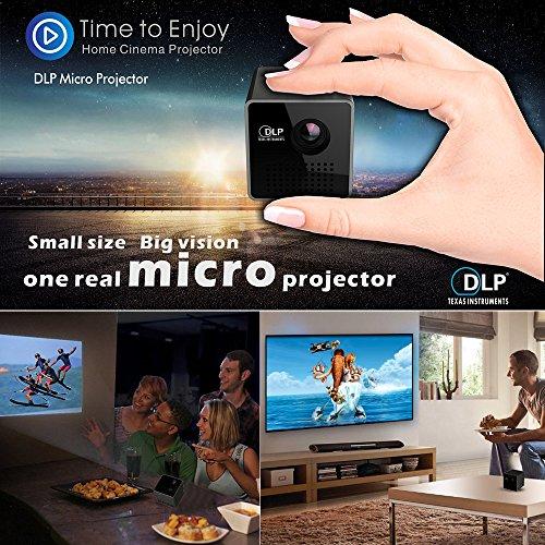Docooler DLPプロジェクター 小型 ポータブル ミニプロジェクター 1080P HDビーマー 70インチ スクリーン 64G TFカードサポート 1000mAh充電式 3.5mmオーディオポート ホームアウトドア用