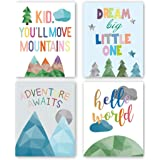 "HPNIUB Watercolor Inspirational Positive Quotes Art Prints Set of 4 (8""X10"" Adorable Abstract Geometric Painting Mountain,Tre"