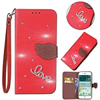 Nokia 5.1 - シリーズ 便利 Wallet Style Flip Cover Case For Nokia 5.1 ONLY (Nokia 5.1 Cover Red)