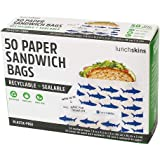 Lunchskins Recyclable + Sealable Paper Sandwich Bags, w/Closure Strip, 50-Count, Shark