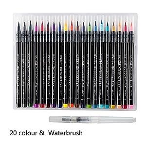 Kindness 筆ペン カラー 水彩 筆ペン 絵筆 水性 水彩筆 水性マーカー 水彩 カラーペン 塗り絵 画筆 絵用 軟らかい フルカラー 文具 画材 手描き 20色セット 収納ケース付き