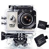 DBPOWER ウェアラブルカメラ 12MP 1080P フルHD 1200万画素 170度広角レンズ 30M防水 バイク/自転車/車などに取り付け可能 19個のアクセサリー付け シルバー
