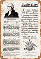 "7"" x 10""メタルサイン–1908ジョージ・ワシントンBrewedビールBudweiser Ad–Vintage Look Reproduction"