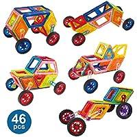 磁気タイル建物ブロックセット46ピースマグネット教育玩具ストレージボックス付き幼児/男の子/女の子/キッズover 3 years old