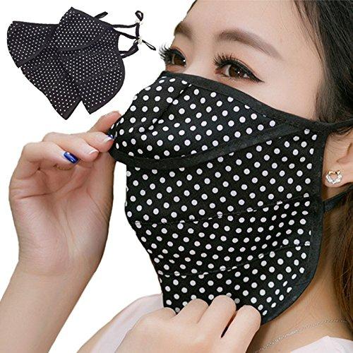 ファッションマスク おしゃれ ブラック  2点セット UVカットマスク 日焼け防止 フェイスカバー