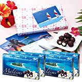 モルディブ お土産  モルディブ メモリー マカデミアナッツチョコレート4箱セット ポストカード・ラッピング・紙袋付き