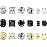 LOYALLOOK 9 Pairs Stainless Steel Magnetic Stud Earring for Men Women CZ Magnet Non Pierced Clip On Earrings 6mm-8mm