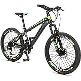 Kids Mountain Bikes, 24 Speed Dual Disc Brake Mountain Bicycle, High-Carbon Steel Frame, Boys Girls Hardtail Mountain Bike,Gr
