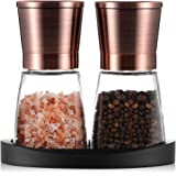 Pepper Grinder, Salt and Pepper Mills with Silicone Stand (2 pcs) Copper Colored Stainless Steel, Set of Salt and Pepper Grin