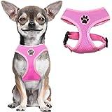 BINGPET Soft Mesh Dog Harness Pet Walking Vest Puppy Padded Harnesses Adjustable, Pink Extra Small