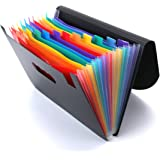 Portable Expanding File Folder with Protective Flap Closure (12 Layers/13 Pockets), Rainbow Color Tabs Accordion Document Pap