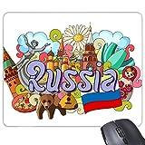 聖バジルの大聖堂のレーニン霊廟のロシアの落書き 長方形のノンスリップゴムパッドのゲームマウスパッドプレゼント