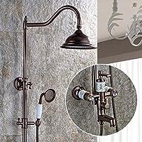 浴室シャワーシステム - 真鍮のレインシャワー多機能システム、ブラックブロンズリフトシャワー、最高のリラクゼーションとスパトリートメントのためのデラックスバスルームシャワーセット