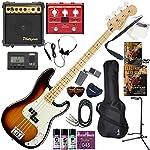 FENDER エレキベース 初心者 入門 メキシコ製 重々しく唸るサウンドのプレシジョンベース マルチエフェクターも入ってる!最強の20点セット Player Precision Bass/3CS/M(3カラーサンバースト/メイプル指板)
