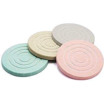 ESEOE吸水 滑り止め ホルムアルデヒドを消除する 珪藻土コースター 自然素材でエコ 四色セット (ネジパターン)