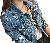 kaen(カエン)gジャン レディース デニムジャケット ジージャン ショート丈 大きいサイズあり ダメージ加工 クラッシュ ヴィンテージ加工 ライトアウター 上着 (XXXXL, ブルー)
