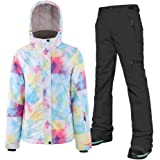 Women's Snowsuit Ski Jacket and Pants Set Waterproof Windproof Snowboard Hooded Snow Jackets