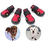 FLOWSIK ドッグブーツ 犬用靴 防水 ドッグブーツ 滑り止め 肉球守り アウトドア 愛犬の散歩 足を保護 中型犬 大型犬にもフィット 犬用シューズ 犬靴(01, レッド)