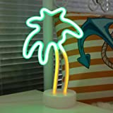 (Palm Tree With Holder) - DELICORE Coconut Palm tree Neon Signs, LED Neon Light Sign with Holder Base For Party Supplies Tabl