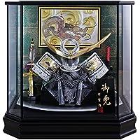五月人形 兜ケース飾り 上杉謙信兜 13号 黒塗六角ケース 間口48×奥行32×高さ47.5cm G2601BB