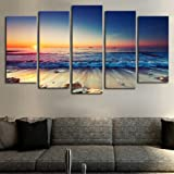 Sunset Beach Wall Art Canvas Pictures Ocean Waves Coast 5 Piece Canvas Romantic Seascape Painting Prints Contemporary Artwork