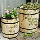 天然木製 コーヒーバレル プランター(カバー・スタンド) S & Lセット 杉天然木 CB-2330N-3040N