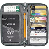 Jollyfit RFID Blocking Anti-Theft Hidden Neck Pouch Security Zipper Travel Wallet Passport Holder for Men & Women
