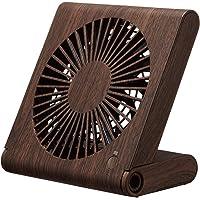 ドウシシャ 卓上扇風機 スリムコンパクトファン 3電源(AC USB 乾電池) 風量3段階 静音 ピエリア ダークウッド