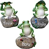 Frog Garden Statues - 3 Pack Lanker 5 Inch Frogs Sitting on Stone Sculptures Outdoor Decor Fairy Garden Ornaments