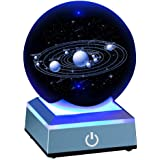 Solar System Crystal Ball 80mm with 3D Laser Engraved Sun System with a Touch Switch LED Light Base Cosmic Model with Names o
