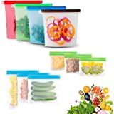 GEHARTY Reusable Silicone Food Storage Bags 10 Pack (Set of 4x1000ml,3 Snack Bags,3 Lunch Bags)Sealing Sandwich Food Preserva