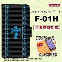 手帳型 ケース F-01H スマホ カバー arrows Fit アローズ ゴシック 黒×水色 nk-004s-f01h-dr1009